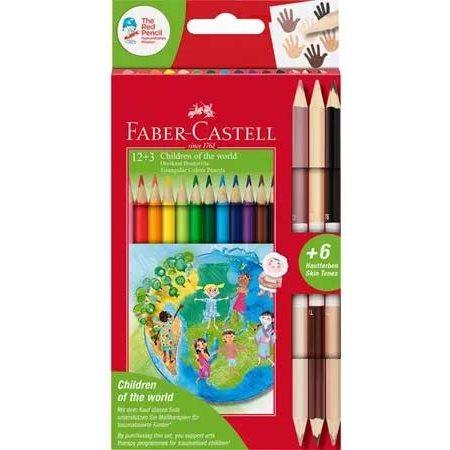 Enfants du monde crayon de couleur triangulaire 12+3