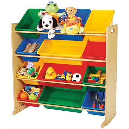 Rangement à 12 compartiements pour jouets - couleurs primaires