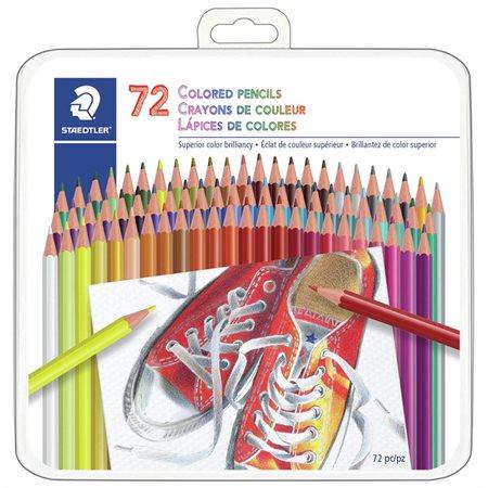 Crayons de couleur avec boîte en métal 72  /  pqt